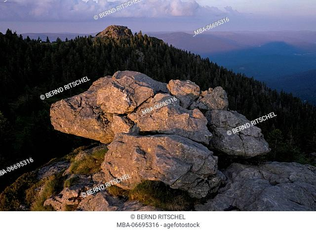 Rock at Großer Arber in the evening light, Bavarian Forest, Bavaria, Germany