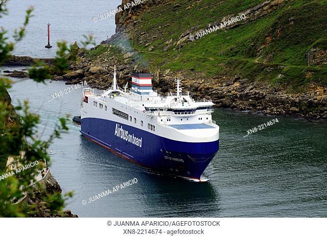 Cargo Ship arriving at the Port of Pasajes, Guipuzkoa, Euskadi, Basque Country, Spain, Europe