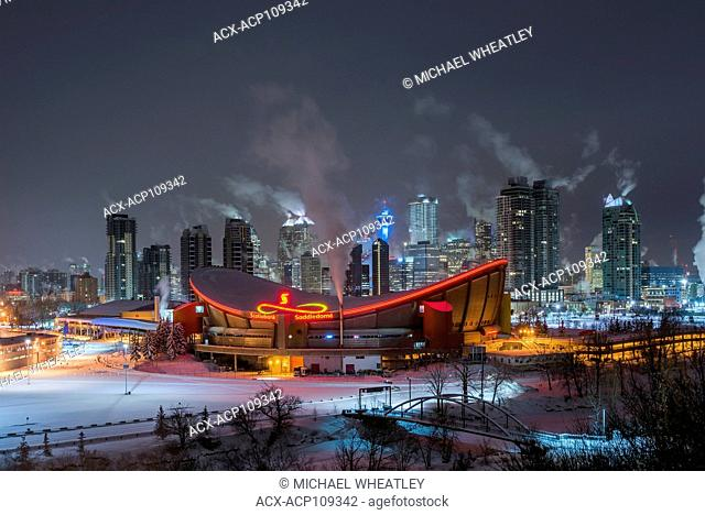 The Saddledome and Calgary skyline in winter, Calgary, Alberta, Canada