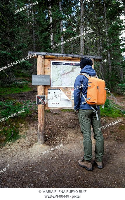 USA, Wyoming, Yellowstone National Park, man standing in front of an info panel