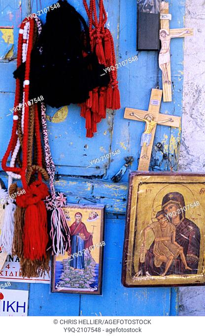 Religious Souvenirs Crosses & Icons for Sale at Karyes Mount Athos Greece