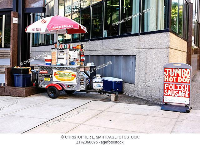 A street vendor selling jumbo hot dogs in downtown Nashville TN
