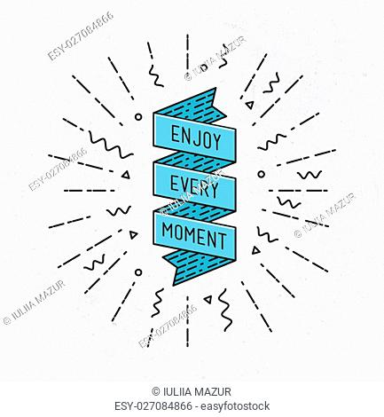 Enjoy every moment Inspirational illustration, motivational quotes typographic poster design in flat style, thin line icons for frame, greeting card