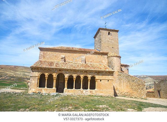 Facade of San Pedro church. Caracena, Soria province, Castilla Leon, Spain