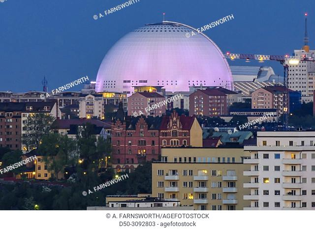 City view over the Ericsson Globe Arena. Stockholm, Sweden
