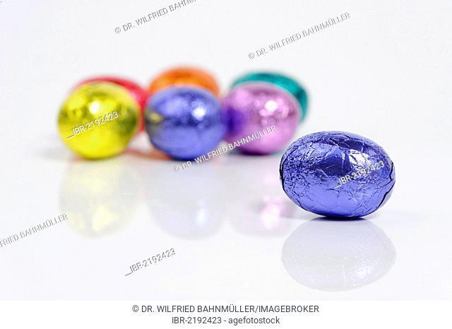 Colourful chocolate eggs, Easter eggs