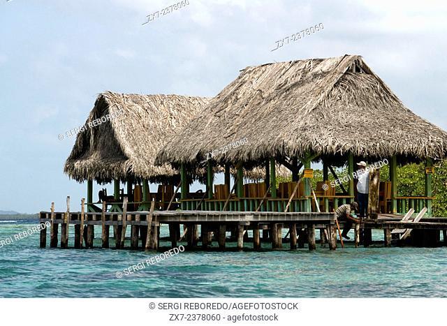 Restaurant in Crawl Cay- Cayo Coral. Boca del Drago. Bocas del Toro. Panama. One of the most famous snorkeling spots in Bocas de Toro
