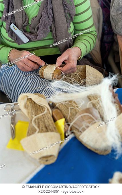 Espadrille artisan in rural fair, Eivissa, Ibiza, Balearic Islands, Spain, Mediterranean, Europe