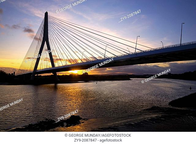 (New) Waterford Suir Bridge, The Longest Cable Stayed Bridge in Ireland, County Waterford, Ireland