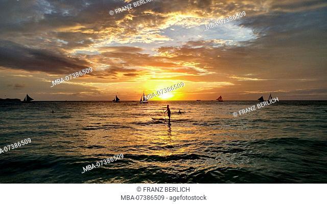 Philippines, Boracay Island, Sailboats, Stand Up Paddling, Sunset