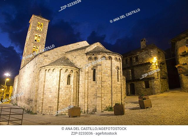 Santa Maria romanesque church Taull village by night Boi valley Lleida Catalonia Spain