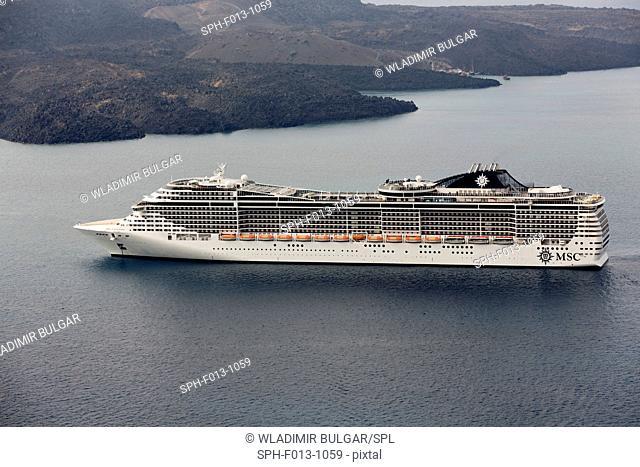 MSC Fantasia cruise ship, near Santorini island, Greece