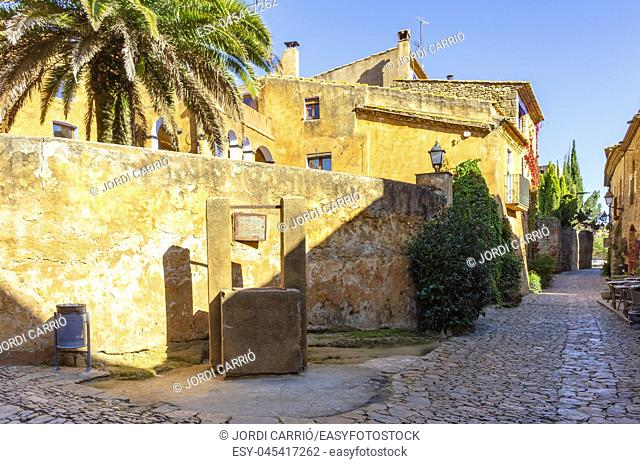 Stoned streets and houses decorated with plants in the historic center of Peratallada in Catalonia, Spain