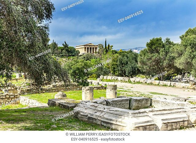 Middle Stoa Ruins Ancient Temple of Hephaestus Agora Market Place Athens Greece. Agora founded 6th Century BC