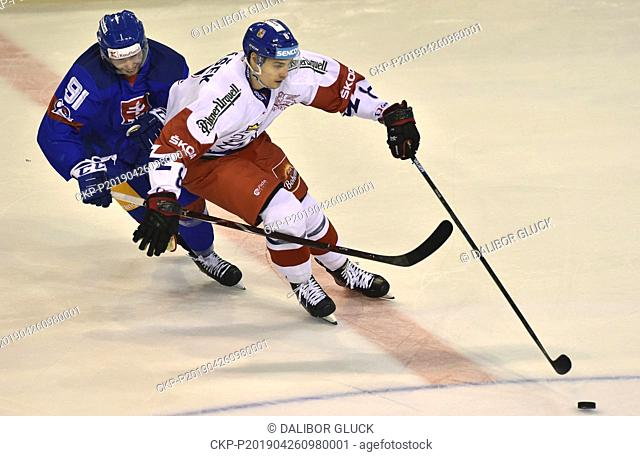 Matus Sukel of Slovakia, left, and David Tomasek of Czech Republic in action during the Euro Hockey Challenge match Slovakia vs Czech Republic in Trencin