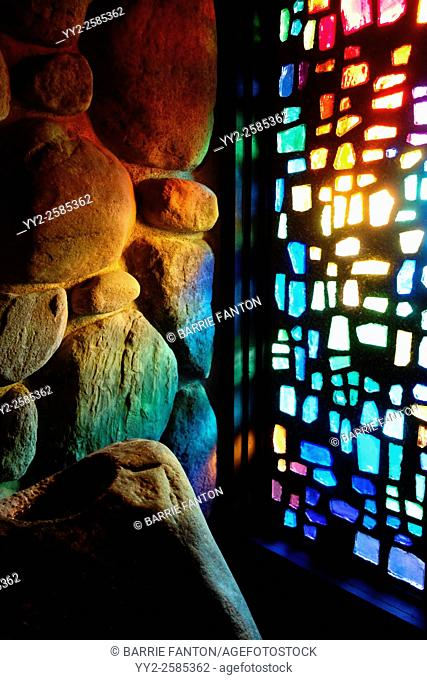 Stained Glass Reflection on Stone Wall, Abbey of the Genesee, Piffard, New York, United States