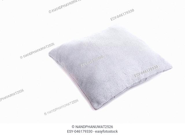 New grey pillow isolated on white background