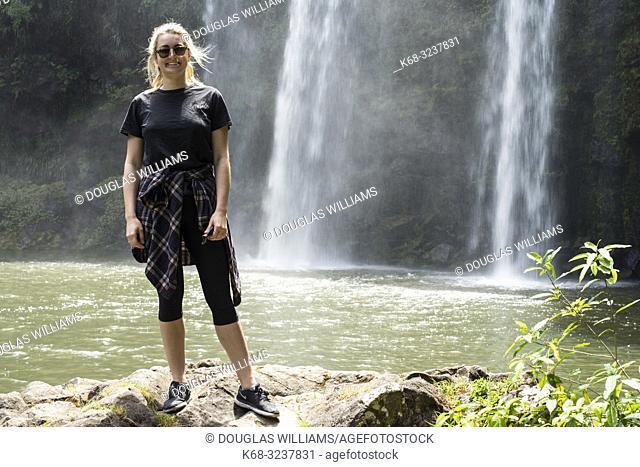 Woman. Whangarei Falls, Hatea River, Whangarei Scenic Reserve, Tikipunga, North Island, New Zealand
