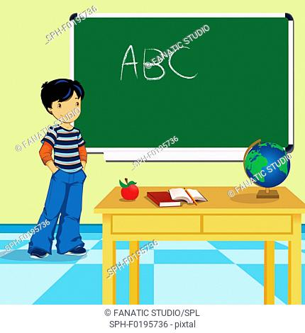 Schoolboy standing in a classroom, illustration