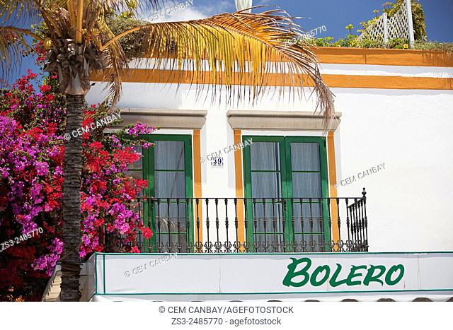 Colorful balcony with flowers in Puerto de Mogan, Gran Canaria, Canary Islands, Spain, Europe