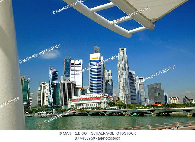 View of the Singapore skyline and Esplanade Bridge. Singapore
