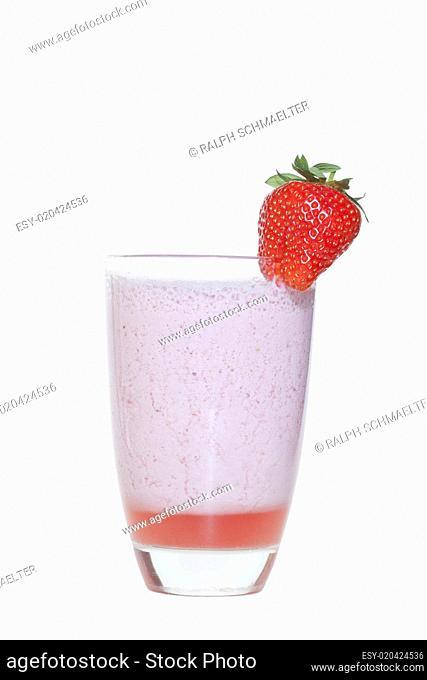 stawberry milkshake isolated white background