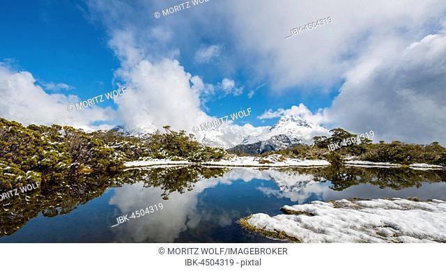 Snow on summit of Key Summit, Mt. Christina, Fiordland National Park, West Coast, Southland, New Zealand