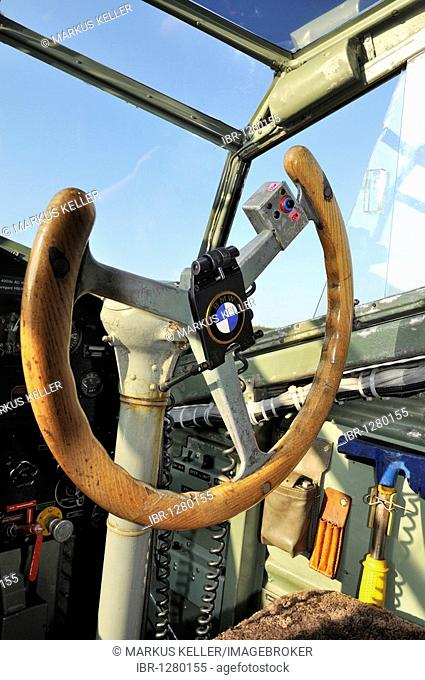 Yoke in the cockpit of the passenger aircraft Junkers JU-52, Germany, Europe