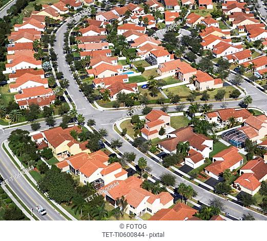 aerial view of housing community