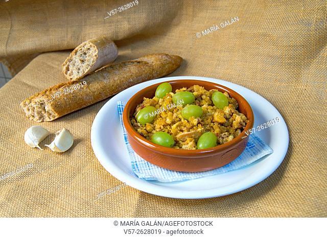 Migas manchegas with some ingredients. La Mancha, Spain