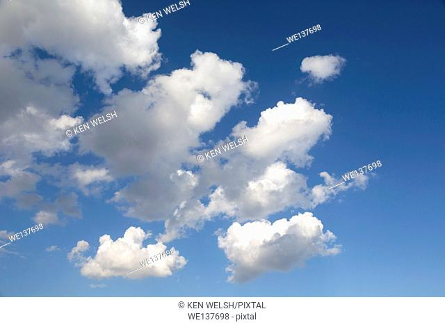 Cumulus clouds in blue sky