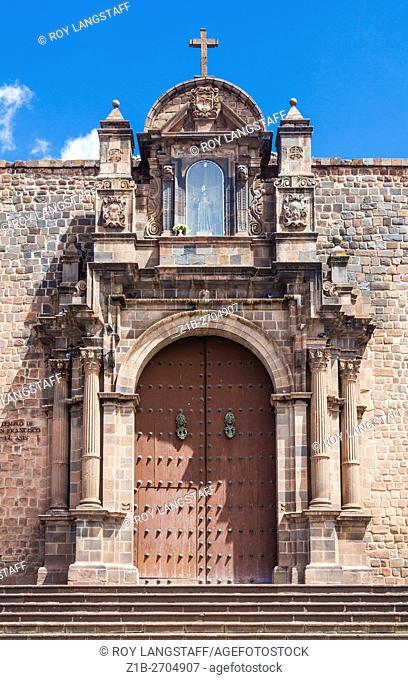 Front door of the Basilica San Francisco de Asis in Cusco, Peru