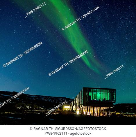 Aurora borealis over Hotel ION, located by Nesjavellir Power Plant, Iceland
