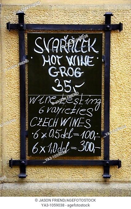 Czech Republic, Prague, Prague City  Hot wine grog sign on wall near the old town of Prague