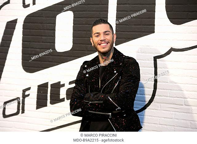 Emis Killa (Emiliano Rudolf Giambelli), Italian rapper, as a coach for The Voice of Italy, the fourth edition of the talent show of Raidue