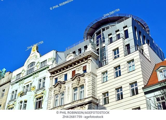 Prague, Czech Republic. Contrasting art nouveau and modern architecture on Na Prikope (street)