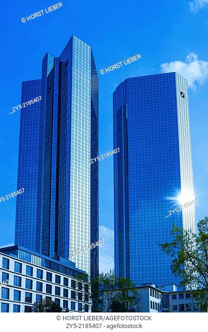 The skyscrapers of the German bank in Frankfurt / Main, Germany