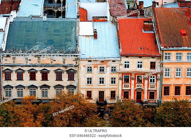 Lviv at autumn, Ukraine, view from city hall