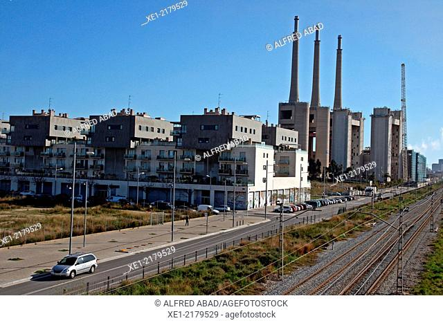 Railroad tracks, old thermal power plant, Sant Adria del Besos, Catalonia, Spain