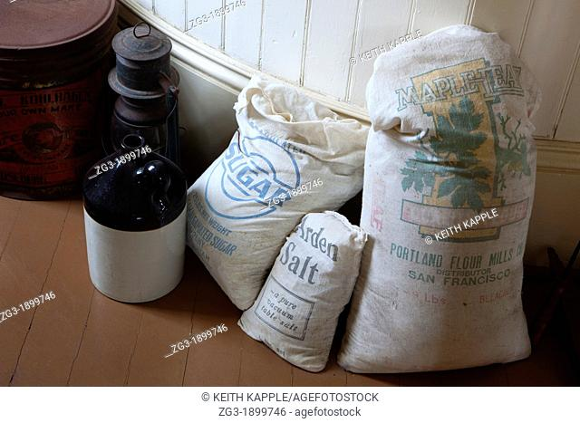 Vintage old fashion food supplies and storage inside a lighthouse on the Oregon Coastline, USA