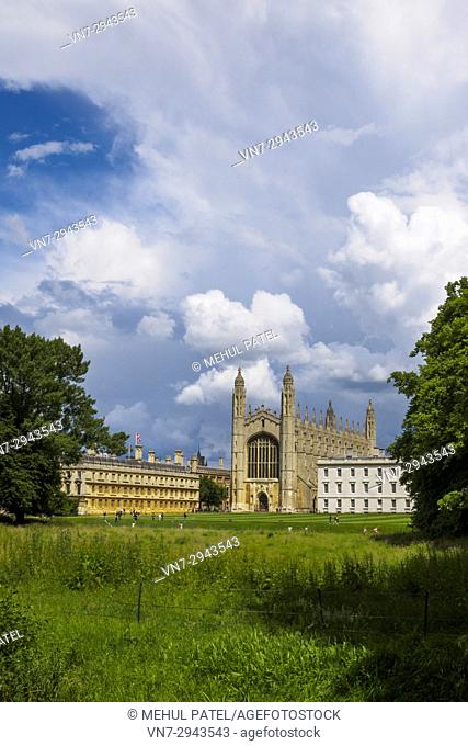 View of King's College Cambridge, with the Chapel in the centre of image and Clare College (left), Cambridge, England, UK