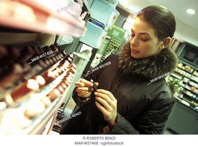 woman, perfume shop