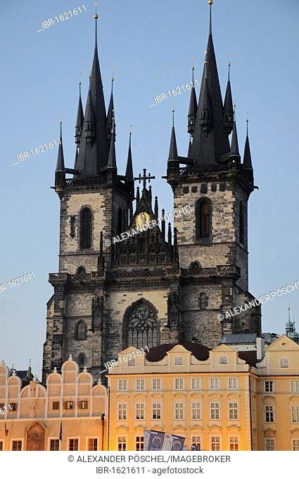 Blue Hour, Tyn Church, Old Town, Prague, Czech Republic, Europe