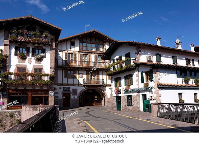Street of Elizondo, Baztan valley, Navarra, Spain