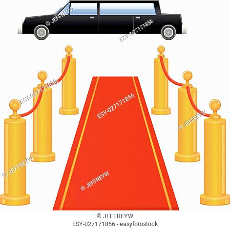 Vector illustration of a limousine vehicle and red carpet