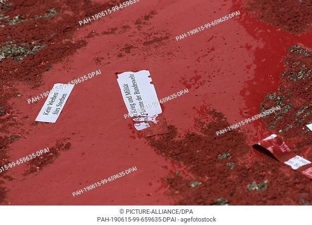"""15 June 2019, Baden-Wuerttemberg, Pfullendorf: Unknown persons have emptied red color on the area of the Staufer barracks during """"""""day of the Federal Armed..."""