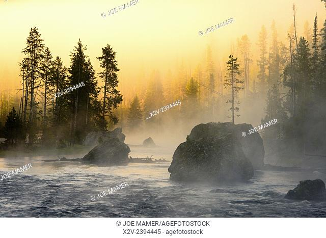 Foggy sunrise on the Firehole River in Yellowstone National Park
