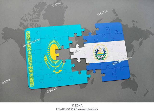 puzzle with the national flag of kazakhstan and el salvador on a world map background. 3D illustration