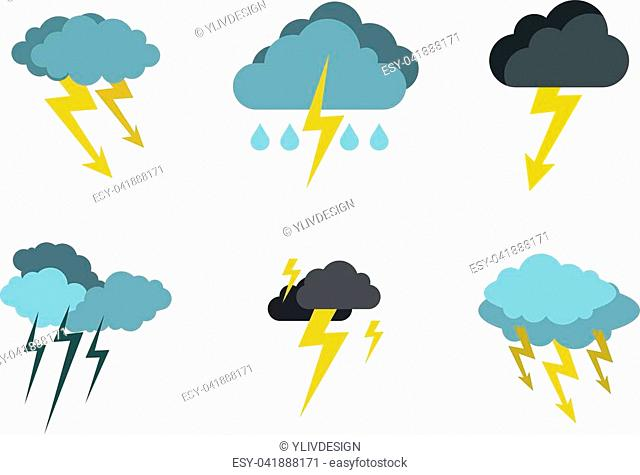Storm cloud bolt icon set. Flat set of storm cloud bolt vector icons for web design isolated on white background
