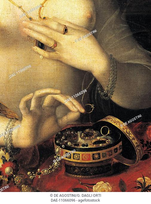 Lady at her toilette, detail of the jewellry box, painted by the Fontainableau School, end 16th century.  Dijon, Musée Des Beaux-Arts (Picture Gallery)